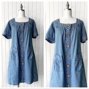Vintage 90s Button Front Denim Dress